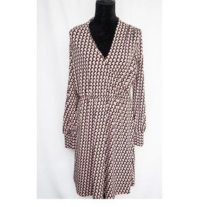 Adrianna Papell Dress Pink wrap dress L
